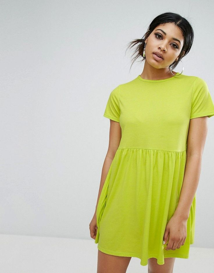 Daisy Street T-Shirt Smock Dress - Green