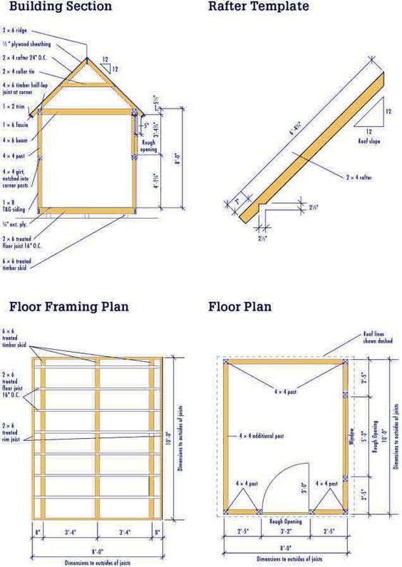 Best 25 shed plans 8x10 ideas on pinterest 10 x 12 deck for Storage building floor plans