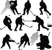 A collection of hockey silhouettes.