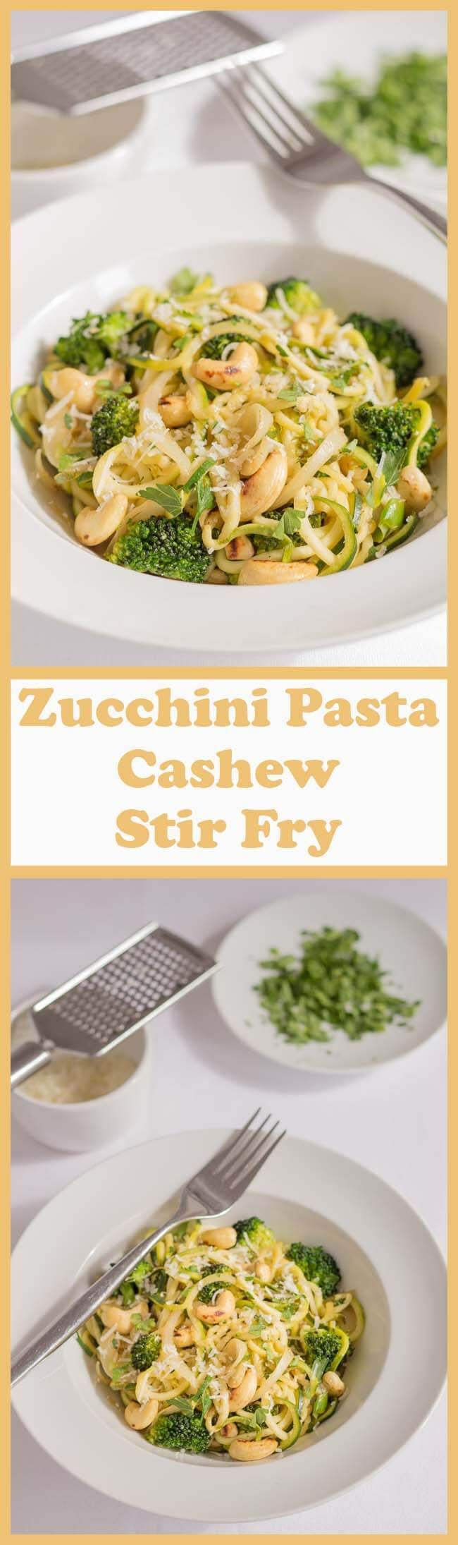 This zucchini pasta cashew stir fry recipe is a quick, healthy and delicious meal. It's vegetarian, gluten free and ideal for those on a low calorie diet!