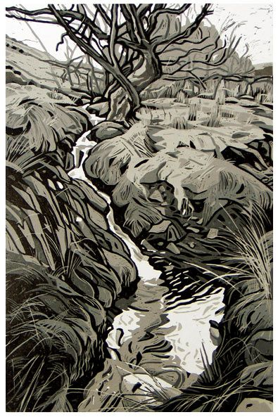 """Nant y Mynydd"" by Ann Lewis from her Welsh landscapes  - 5 cut linocut - Born in St. Asaph, Flintshire in 1962, Ann studied at the Art College in Bangor"