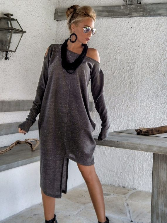 Brown Winter Warm Knitted Blouse Dress Tunic / Off White Asymmetric Plus Size Dress / Oversize Loose Blouse / #35162
