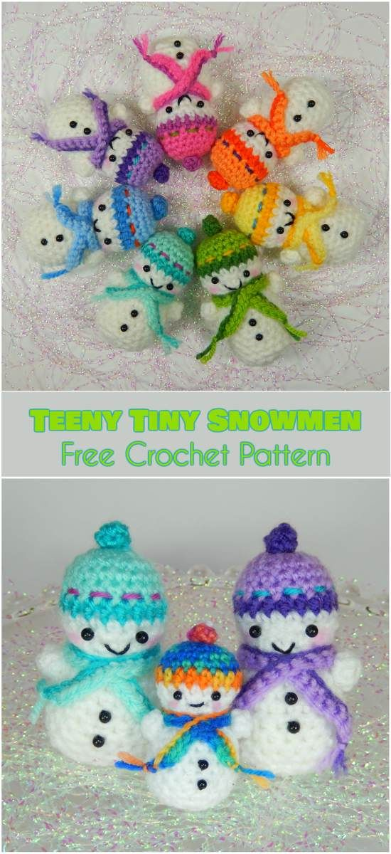 Teeny Tiny Snowmen Free Crochet Pattern Pinterest Crocheting