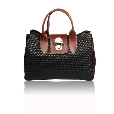 Black leather bag for women