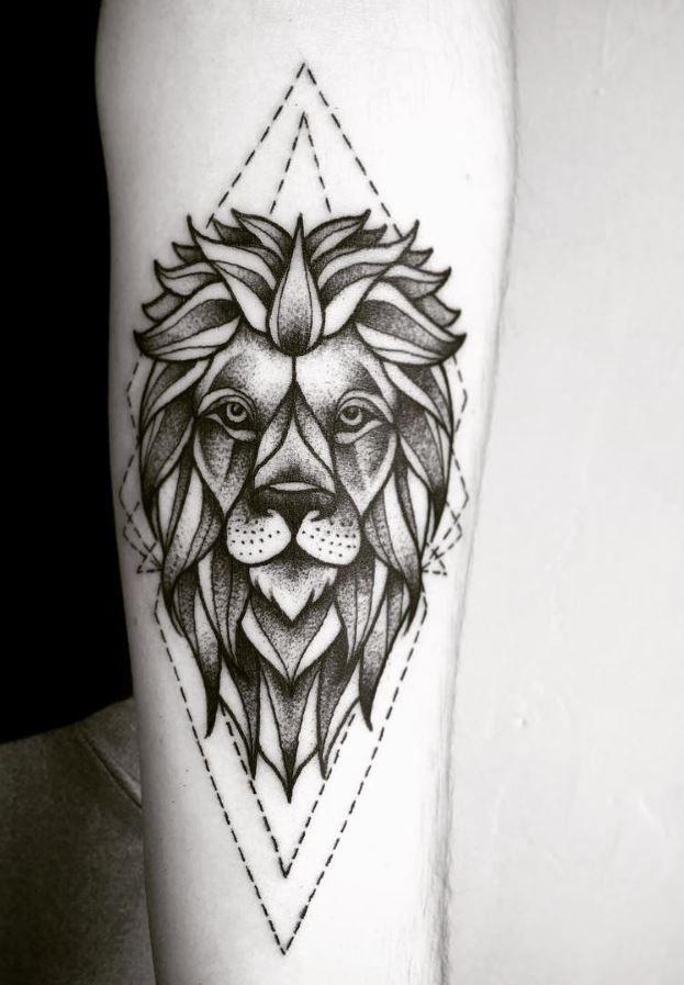 Geometric Lion Tattoo Inkstylemag Geometric Lion Tattoo Tattoos Geometric Lion