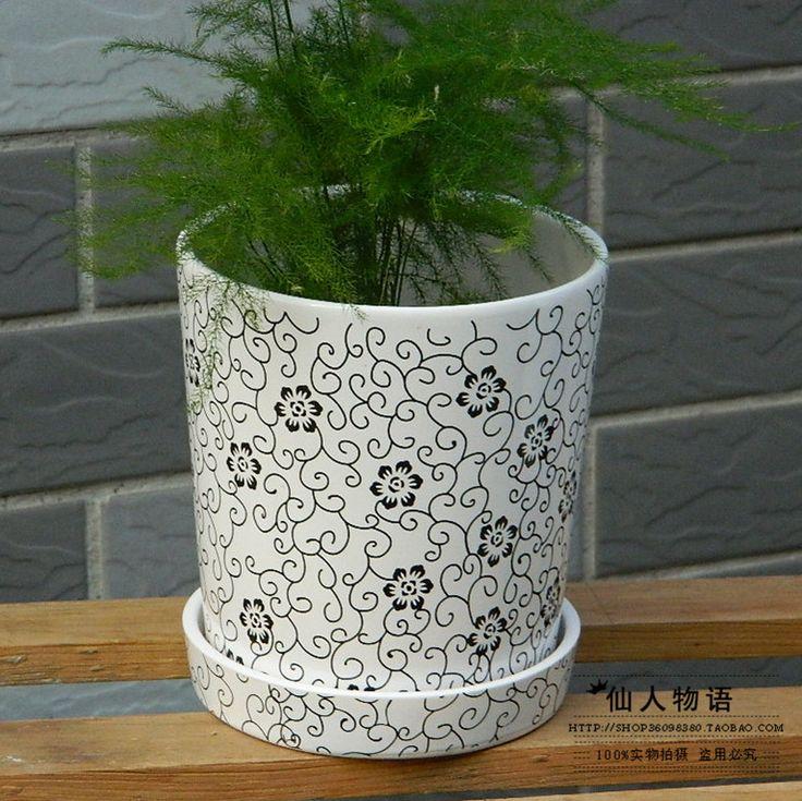 2014New современный горшок керамика минимальный уровень цветок чайник горшки с белый ремень поддон 15 см высокая растение чайник(China (Mainland))