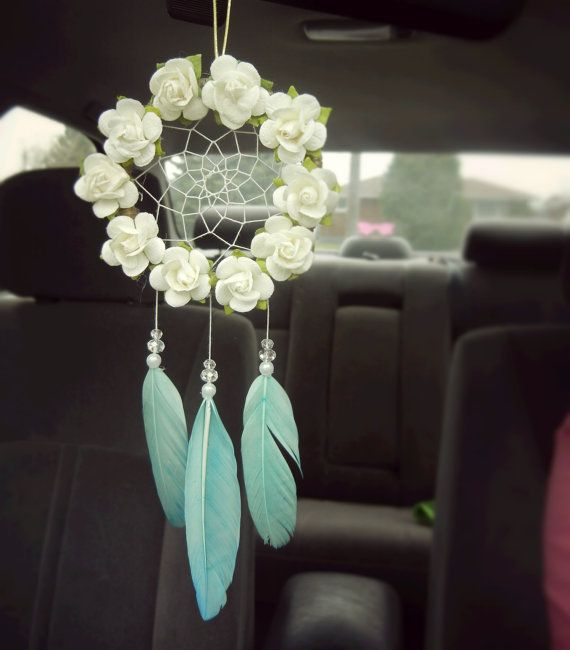 Beautiful floral car dreamcatcher with aquamarine feathers - beautiful for a car rearview mirror, nursery, or bedroom!