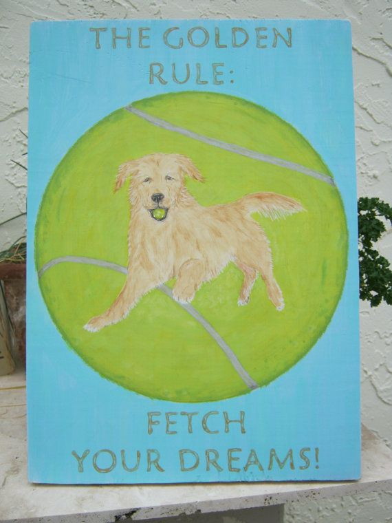 17 best images about golden retriever dog art wooden for Golden rule painting