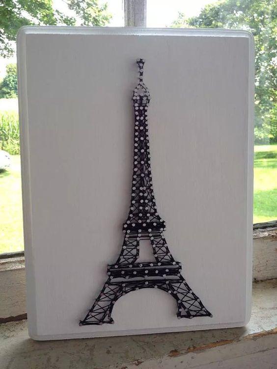Eiffel Tower Custom String Art on Wooden Plaque: