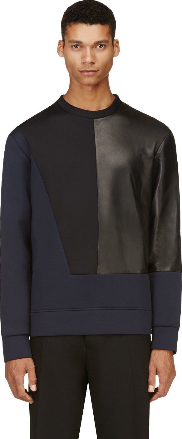 Costume National Navy & Black Neoprene Pullover