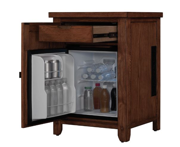 An elegant wood nightstand fridge that keeps bevvies at the ready. | 21 Things That Will Make Your Bedroom Even Cozier