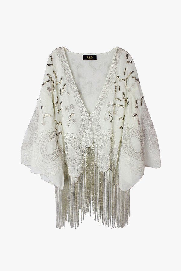 """Size + Fit: - Sequins, embroidered silver thread, sea beads - US Size: S-4 / M-6 / L-8 - EUR Size: S-36 / M-38 / L-40 - Length: 22.0"""" / 56cm - Bust: 53.5"""" / 136cm - Model is wearing size small - Measu"""