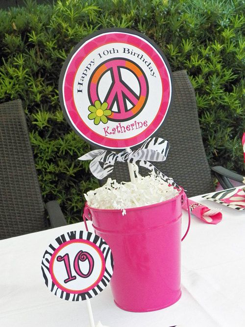 Hot Pink Zebra Peace Sign Napkin Rings Printable - Chic Peace Party Collection. $7.00, via Etsy.