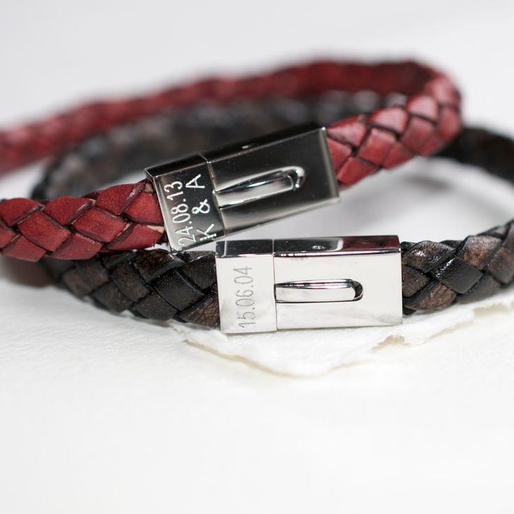 Personalised Mens Leather Date Bracelet