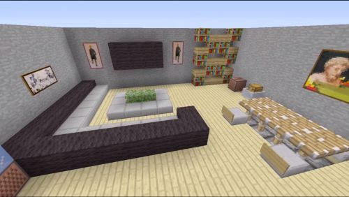 minecraft house interior living room - Google Search                                                                                                                                                                                 Más