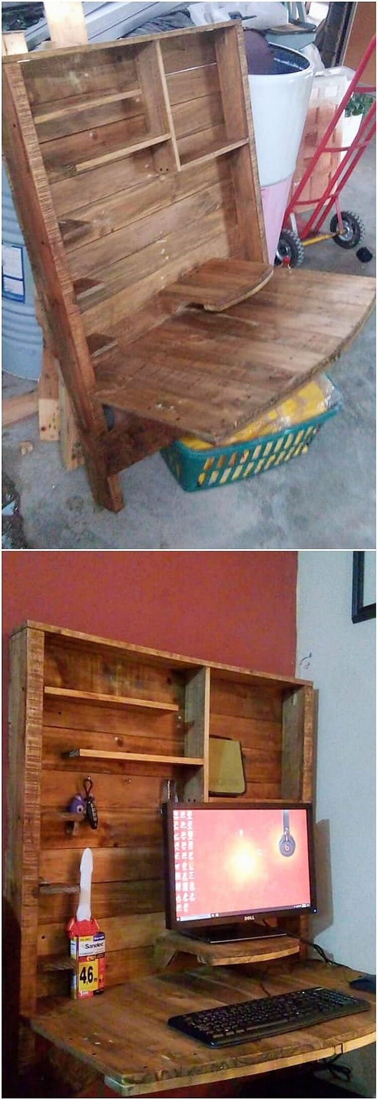 This is one of the amazing creation of wood pallet folding desk use in it will eventually give a nice impression to your house. This wood pallet creative folding desk do offer with the unique giant structural designing framework of table effect creation. You can make avail as the laptop or computer table stand too.