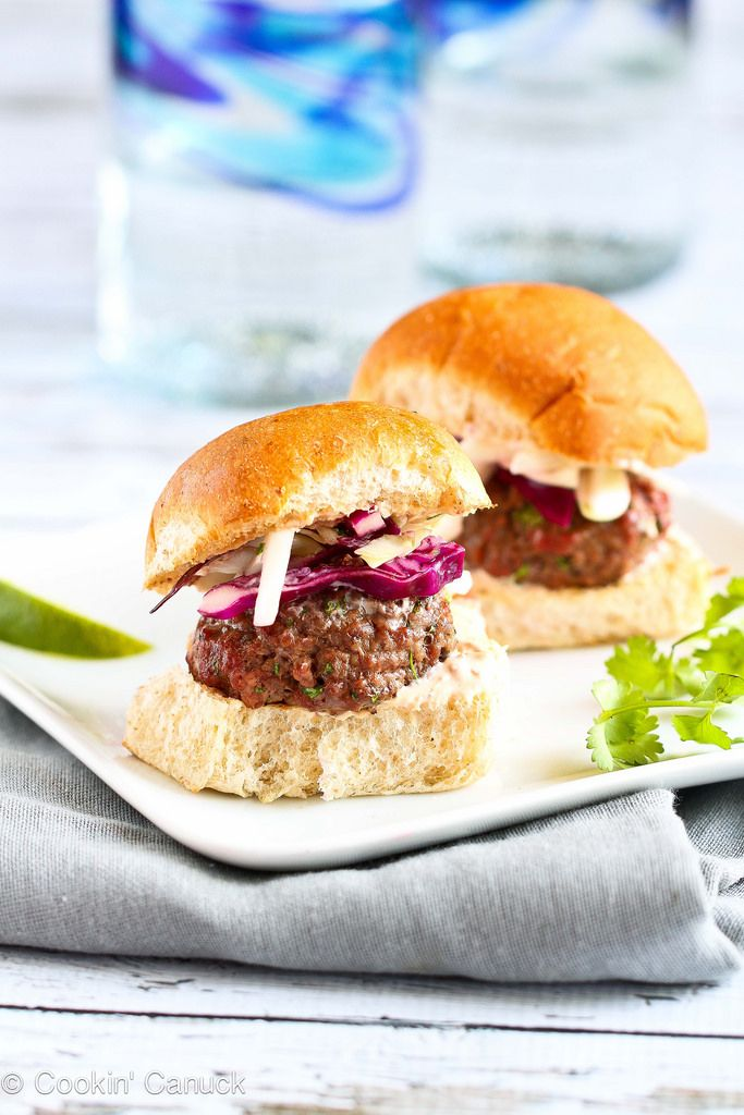 Lean Grilled Hamburger Sliders Recipe with Hot Sauce Slaw...Perfect for Father's Day!  | cookincanuck.com