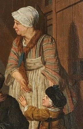 "Detail of ""School for Girls"" by Jan Josef Horemans.  Nice striped bedgown."