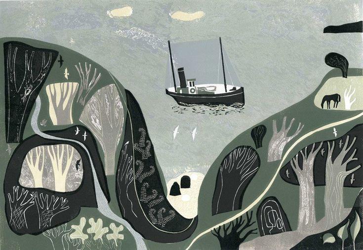 Melvyn Evans 'Seaspray and Birdsong' linocut