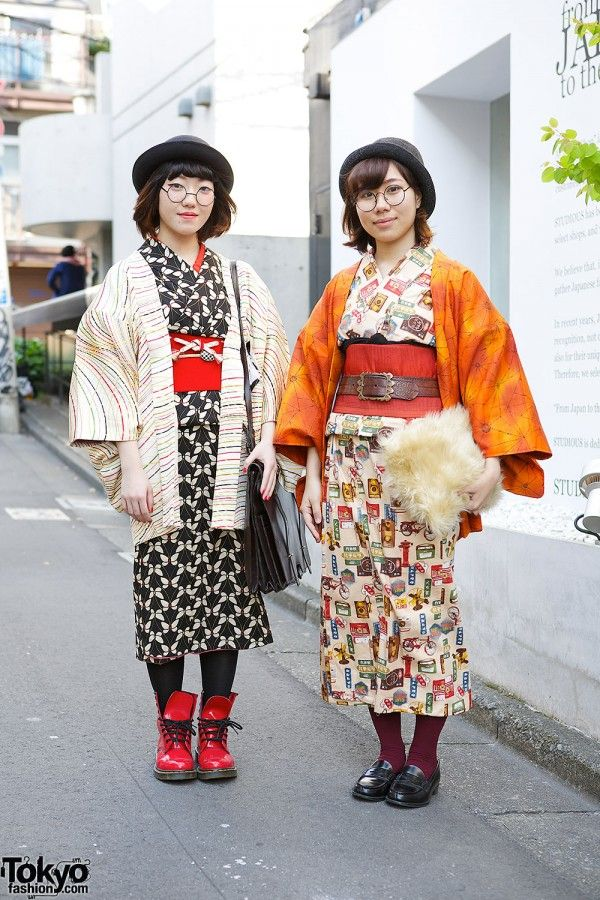 Two friendly students in Harajuku. We don't see too many teens wearing kimono these days, so we were happy to spot them! In addition to the kimonos, their looks include handmade accessories, loafers and #Dr. #Martens boots. #tokyofashion #street snap #Harajuku