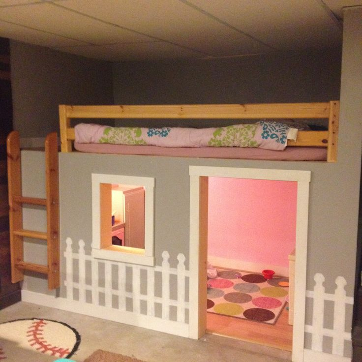 The finished product of the clubhouse bed in the man cave 11 year old girl bedroom ideas