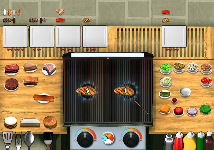 """This is an image of a grlling food game name """"Let's Get Grillin"""". In this game grill a variety of meats, and share side dishes to hungry visitors."""