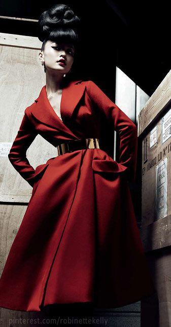 Christian Dior Haute Couture #dior #structure #hautecouture #fashion #style #designer #christiandior #beautiful #red #coat #jacket