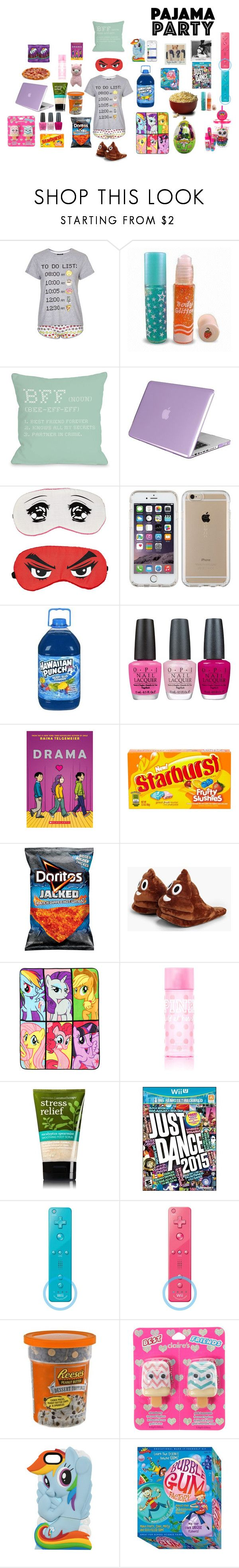 """""""Sleepover with BFFs"""" by leeloolalala ❤ liked on Polyvore featuring Topshop, One Bella Casa, Insten, Speck, Typhoon, OPI, River Island, Gatorade, Boohoo and My Little Pony"""