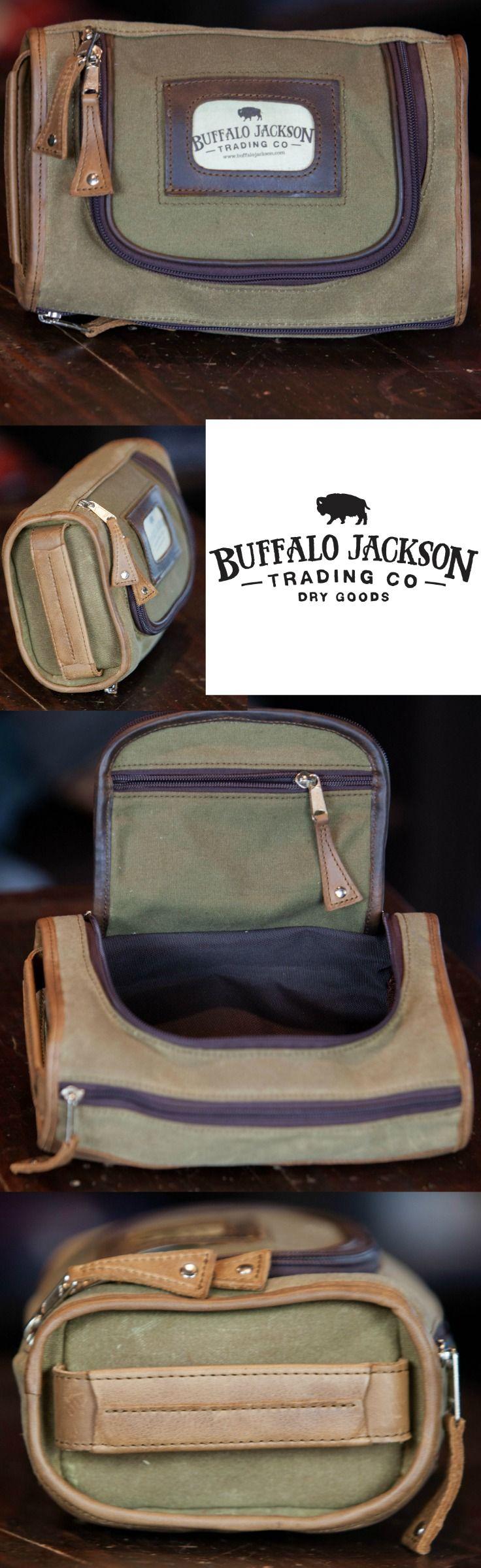 Waxed Canvas and Leather Mens Toiletry Bag | Dopp Kit for Men | Shaving Kit Bag | Mens Travel Bag