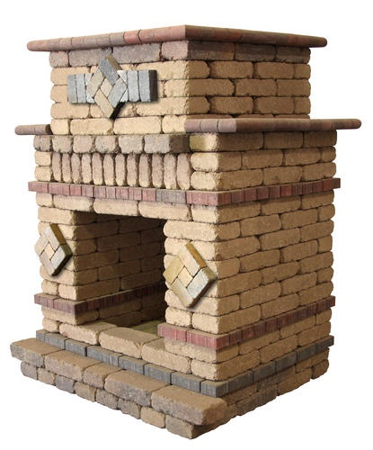 Belgian Hearthstone Fireplace. Price includes landscape block, detailed plans, and firebrick.  All other required items are sold separately and must be purchased at the store.