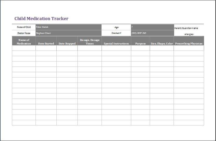 The childu0027s medication tracker needs to be divided into various - sample harassment complaint form