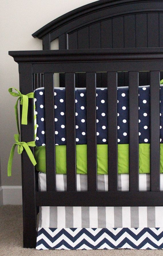 nursery bedding navy, green, gray   Custom Crib Bedding - Lime Green Chevron, Navy Blue Polka Dot and Grey ...
