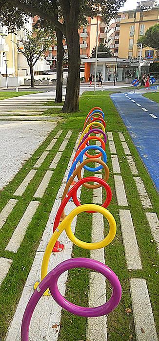 Bike racks in the Piazza Nember, Comune di Jesolo, Italy. Click image for link to full profile and visit the slowottawa.ca boards >> https://www.pinterest.com/slowottawa/