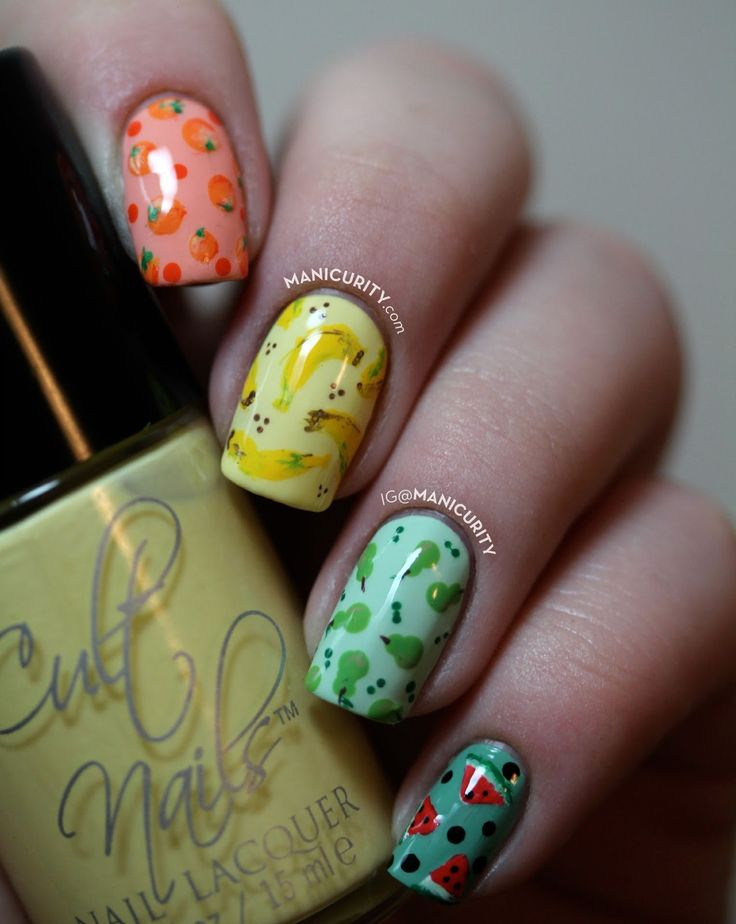 The Digit-al Dozen: Freehand Fruit Salad Skittle Set o' Nail Art