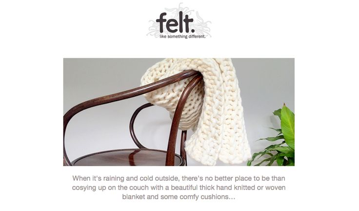 Thanks to NZ's online marketplace Felt for featuring the creamy natural throw in their email newsletter today! Check it out here at: www.chaingang.felt.co.nz