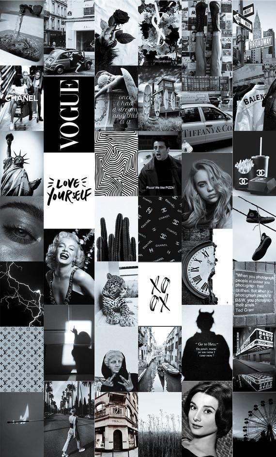 Black Collage Wallpaper : black, collage, wallpaper, Vintage, Black, White, Collage, (Digital, Download), Photo, Collage,, Aesthetic, Wallpaper,, Aesthetic,