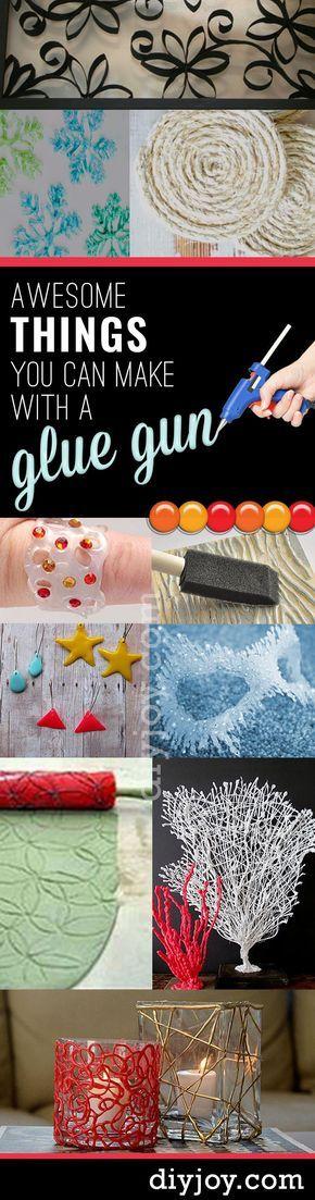 Coisas incríveis que você pode fazer com uma pistola de cola quente! Best Hot Glue Gun Crafts, DIY Projects and Arts and Crafts Ideas Using Glue Gun Sticks | Creative DIY Ideas for Teens http://diyjoy.com/hot-glue-gun-crafts-ideas