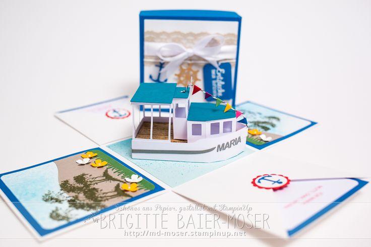 Explosionsbox als Geschenkgutschein für eine Schiffsreise #stampinup ...