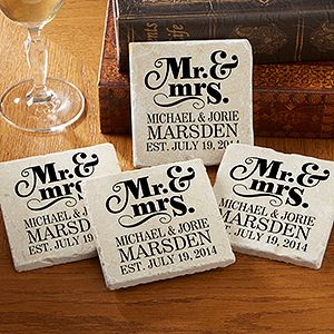 "I LOVE this ""Mr. & Mrs."" Personalized Tumbled Stone Coaster Set! It's such a great wedding gift idea!"