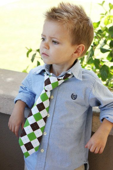 Little Man TiesBrown green and white argyle by TheAppleAvenue, $15.00
