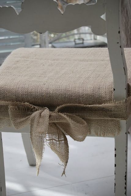 This is what I've finally decided to cover my old home office chair with...burlap