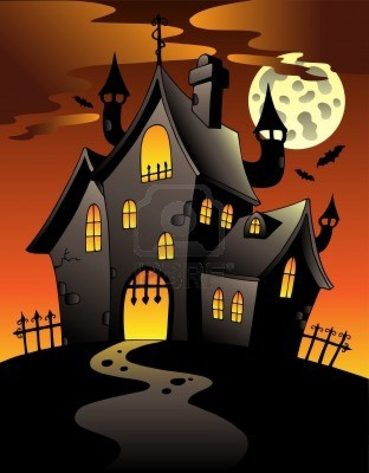 Scene with Halloween mansion illustration.