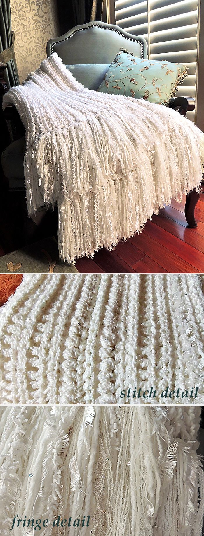 """Latest addition from my Crochet Obsession - White doesn't have to be boring! Afghan crocheted in single, 1/2 double, double and double-single stitch. Body is 2 strands - 1 Deborah Norville Sequin chunky and 1 Lionbrand Homespun using a """"Q"""" hook. Finished off with a fluffy and unique 11"""" fringe made with Eyelash, scarf yarn and various other chunky yarns. So soft and so pretty!"""