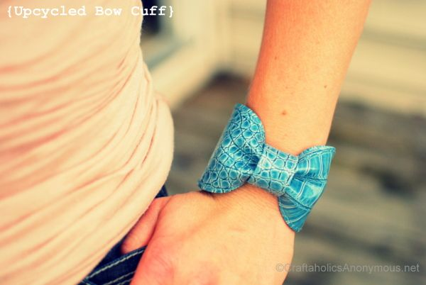 Bow cuff made from an old purse. Great upcycle craft! #diy