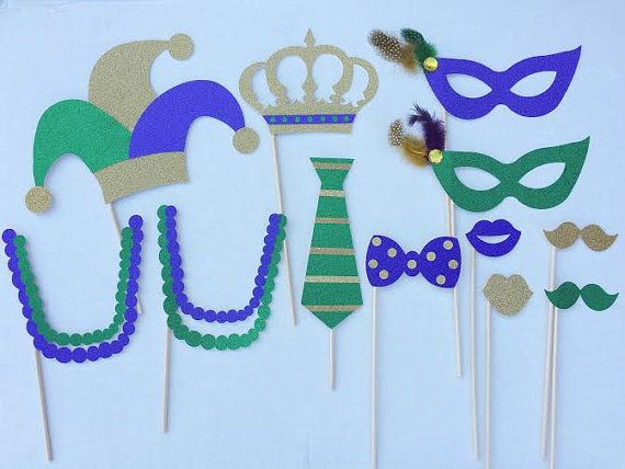 Mardi Gras Glitter Photo Booth Props: Mardi Gras Party; Bachelorette Party Photo Props; New Orleans Party Decor; Mardi Gras Decorations