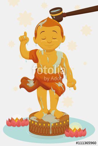 Bathing Golden Statue of Child Buddha in Vesak