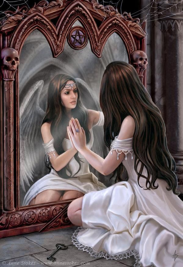 When she looked in the mirror-She couldn't believe her eyes-There on the other side-Was an angel beautiful and wise-Do we have a split personality-An earthly and spiritual side-Time we took a second look-To conquer that great divide.