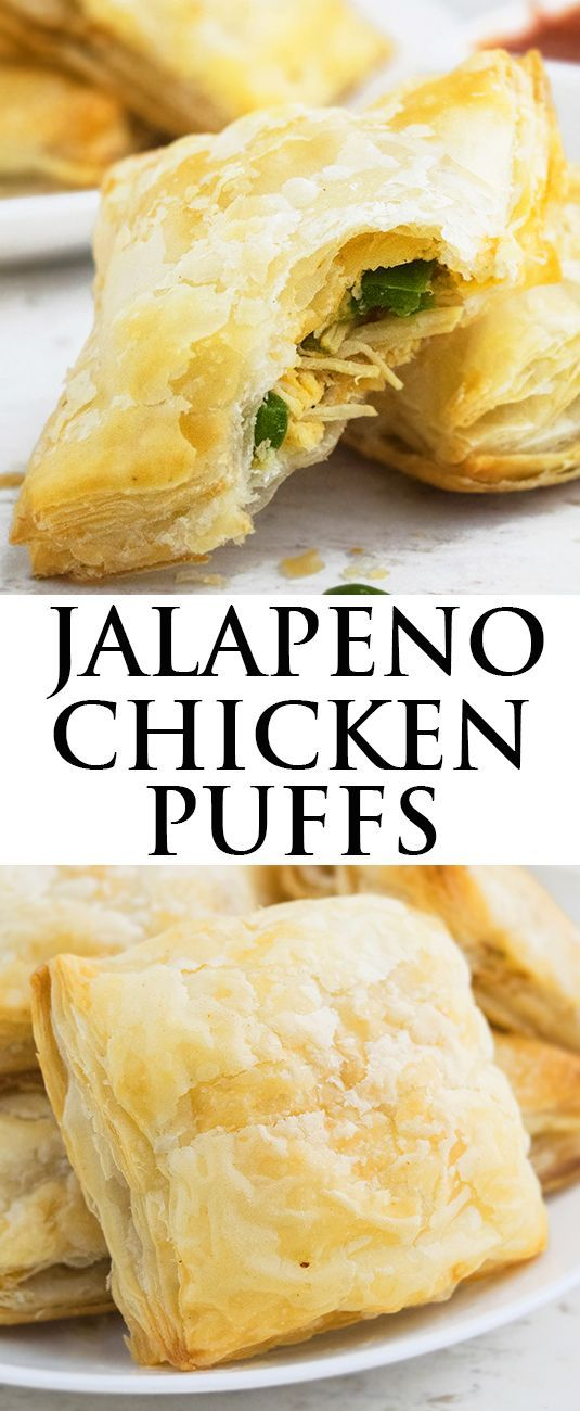 This quick and easy JALAPENO CHICKEN PUFFS recipe is made with a few simple ingredients. These savory puffs pastry are filled with spicy chicken, cheddar cheese and jalapenos. Great as an appetizer or snack. From http://cakewhiz.com