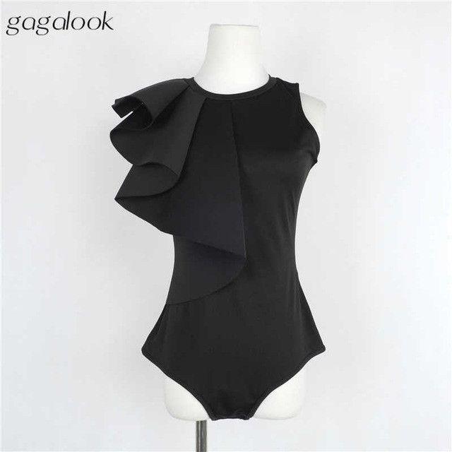 Gagalook 2016 Brand Bodysuit Women Sexy Jumpsuit Romper One Piece Black White Long Sleeve Draped Bodycon Elegant Body Top T0545