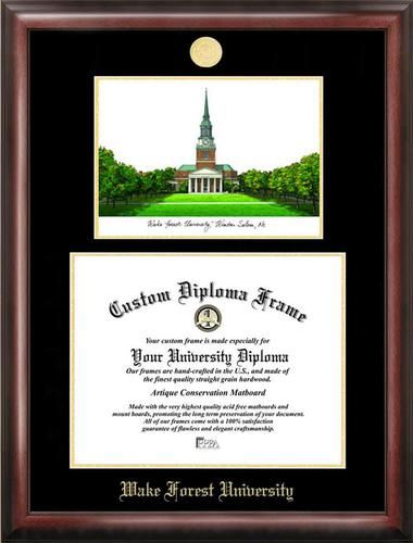 Wake Forest University Diploma Frame with Limited Edition Lithograph
